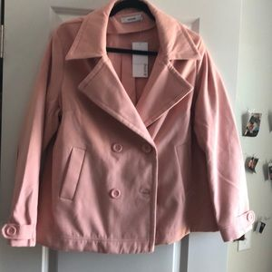 JustFab pink pea coat with pockets